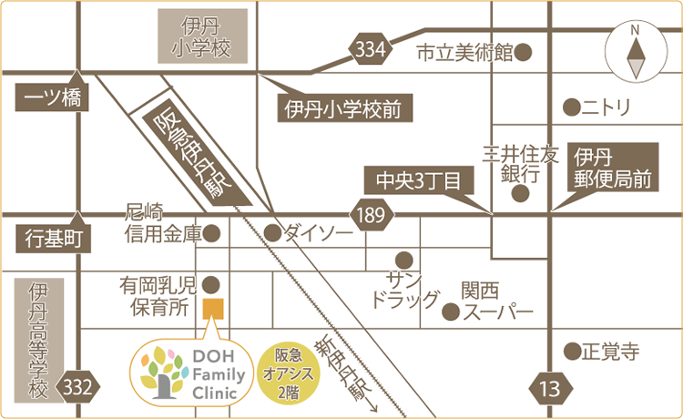どうファミリークリニック アクセスマップ 阪急伊丹駅近く